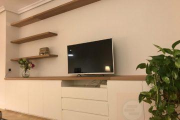 Mueble Lacado Blanco Con Tapa Roble Barnizado